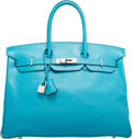 "Luxury Accessories:Bags, Hermes 35cm Turquoise Swift Leather Birkin Bag with Palladium Hardware. K Square, 2007. Good Condition. 14"" Width ..."