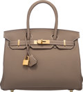 """Luxury Accessories:Bags, Hermes 30cm Etoupe Togo Leather Birkin Bag with Gold Hardware.X, 2016. Pristine Condition. 12"""" Width x 8"""" Height x 6""""Dep..."""