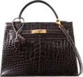 Luxury Accessories:Bags, Hermes 32cm Shiny Marron Fonce Alligator Sellier Kelly Bag withGold Hardware. Z Circle, 1996. Very Good Condition....