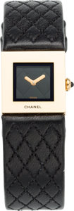 "Luxury Accessories:Accessories, Chanel 18K Yellow Gold & Black Quilted Leather Square Watch.Excellent Condition. 0.75"" Width x 6.5"" Length. ..."
