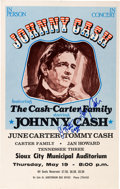 Music Memorabilia:Posters, Johnny Cash And June Carter Cash Signed Sioux City MunicipalAuditorium Concert Poster (1977)....