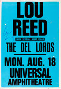 Music Memorabilia:Posters, Lou Reed Signed Universal Amphitheatre Concert Poster (1986)....