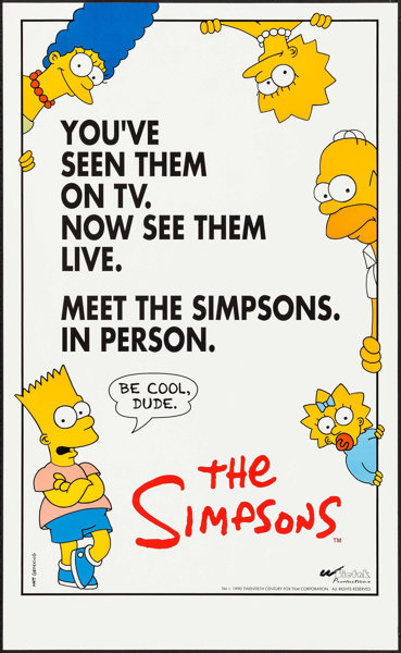 the simpsons live 20th century fox 1995 identical posters lot