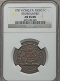 Colonials, 1787 CENT Fugio Cent, STATES UNITED, 4 Cinquefoils, Pointed Rays, AU55 NGC. N. 13-X, W-6855, R.2....