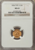Gold Dollars: , 1854 G$1 Type Two.