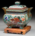 Asian:Chinese, A Chinese Cloisonné Censer with Stand. 7-1/2 inches high (19.1 cm)(without stand). ...