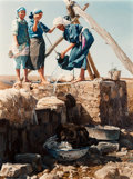 Fine Art - Painting, American, Ray Swanson (American, 1937-2004). Washing Wool at the Well,1985. Oil on canvas. 47-1/2 x 36-1/2 inches (120.7 x 92.7 c...