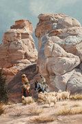 Fine Art - Painting, American:Contemporary   (1950 to present)  , Ray Swanson (American, 1937-2004). Navajo Brothers, 1975.Oil on board. 26 x 18 inches (66.0 x 45.7 cm). Signed lower ri...
