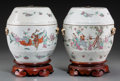 Asian:Chinese, A Pair of Chinese Enameled Porcelain Jars, late Qing Dynasty. 7-5/8inches high (19.4 cm) (excluding stand). ... (Total: 2 Items)