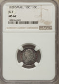 Bust Dimes, 1829 10C Small 10C MS62 NGC. NGC Census: (35/99). PCGS Population:(26/90). Mintage 770,000. ...