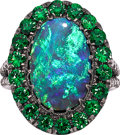 Estate Jewelry:Rings, Black Opal, Tsavorite Garnet, Diamond, Gold Ring. ...