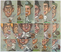 Baseball Collectibles:Others, 1968-69 Detroit Tigers Signed Artwork Caricature Drawings (18) -Tasco....