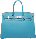 Luxury Accessories:Bags, Hermes 35cm Blue Jean Swift Leather Birkin Bag with PalladiumHardware. K Square, 2007. Very Good to ExcellentConditi...