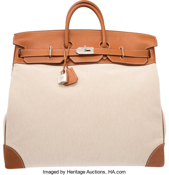0dedc992b8 Hermes 50cm Fauve Barenia Leather   Toile HAC Birkin Bag