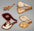 Decorative Arts, Continental:Other , Four Meerschaum Pipes with Hunting Motifs, late 19th century. 5-1/2inches long (14.0 cm) (longest, pipe). ... (Total: 4 Items)