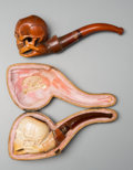 Decorative Arts, Continental, Two Meerschaum Skull Pipes, late 19th century. 4-1/2 inches long(11.4 cm). ... (Total: 2 Items)