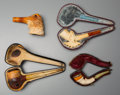 Decorative Arts, Continental, Four Meerschaum Avian Pipes with Hooved Example, late 19th century.5-3/4 inches long (14.6 cm) (longest). ... (Total: 4 Items)