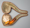 Decorative Arts, British:Other , A Meerschaum Figural Pipe of Benjamin Disraeli, late 19th century. 2-1/2 inches high x 3-1/4 inches wide (6.4 x 8.3 cm) (pip...