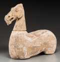 Other, A Chinese Han-Style Terracotta Horse Figure. 20-1/2 h x 21-1/2 w x 8 d inches (52.1 x 54.6 x 20.3 cm). PROPERTY OF A LADY ... (Total: 2 Items)
