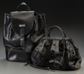 "LuxuryAccessory:Bags, Dolce & Gabbana Set of Two; Black Leather, Snakeskin, Ponyhair & Suede Bags . Very Good Condition. 14.5"" Width x 12"" H... (Total: 2 Items)"