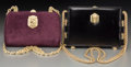 "Decorative Arts, Continental, Kieselstein Cord Set of Two; Black Leather & Purple SuedeShoulder Bags. Very Good Condition. 8"" Width x 5.5""Height x... (Total: 2 Items)"