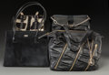 Decorative Arts, Continental, Various Designers Set of Four; Black Leather, Ponyhair & CoatedNylon Bags. Very Good Condition. Various Sizes. ...(Total: 4 Items)
