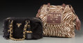 """Decorative Arts, Continental, Prada Set of Two; Black Suede & Brown Zebra Ponyhair Tote Bags.Very Good Condition. 12"""" Width x 8"""" Height x 5"""" Depth...(Total: 2 Items)"""