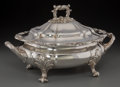Silver Holloware, British, An English Silver-Plated Covered Tureen, 20th century. 9-3/4 incheshigh x 16 inches wide (24.8 x 40.6 cm). ...