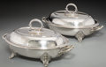 Silver Holloware, British, A Pair of English Silver Plated Covered Vegetable Serving Dishes.7-1/4 h x 14-3/8 w x 9-3/8 d inches (18.4 x 36.5 x 23.8 cm...(Total: 2 Items)