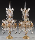 Decorative Arts, Continental:Other , A Pair of Gilt Bronze and Glass Six-Light Girandoles, late 19thcentury. 26 inches high (66.0 cm). PROPERTY FROM A PASADEN...(Total: 2 Items)