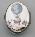 Decorative Arts, British:Other , A Bilston Enameled Patch or Snuff Box with Ballooning Motif, circa1790. 1 h x 2 w x 1-5/8 d inches (2.5 x 5.1 x 4.1 cm). ...