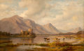 Fine Art - Painting, European:Antique  (Pre 1900), Thomas E. Knox (American, 19th Century). Castle in theHighlands. Oil on canvas laid on panel. 33 x 53 inches (83.8 x13...