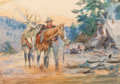 Fine Art - Painting, American:Modern  (1900 1949)  , Philip Russell Goodwin (American, 1882-1935). The Hunter.Watercolor and pencil on paper on two sheets of paper. 5-3/4 x...