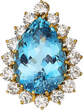Estate Jewelry:Pendants and Lockets, Aquamarine, Diamond, Gold Pendant, Linz Bros.. ...