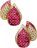 Estate Jewelry:Earrings, Diamond, Ruby, Gold Earrings, Giovane. ...
