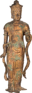 Asian:Japanese, A Japanese Gilt Bronze Guanyin. 31-1/2 inches high (80.0 cm). ...