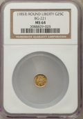 California Fractional Gold , Undated 25C Liberty Round 25 Cents, BG-221, R.3, MS64 NGC. NGCCensus: (7/1). PCGS Population: (44/3). ...