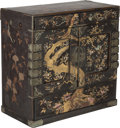 Furniture, A Chinese Lacquered and Mother-of-Pearl Inlaid Cabinet with Avian Motif, Qing Dynasty, late 19th century. 23 h x 23-1/4 w x ...