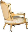 Furniture : French, A Napoleon III Upholstered Giltwood Fauteuil, third quarter 19th century. 36 h x 25-1/2 w x 29-1/2 d inches (91.4 x 64.8 x 7...