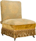 Furniture , An English Aesthetic Movement Turkish-Style Upholstered Slipper Chair, late 19th century. 34 h x 25-1/2 w x 25 d inches (86....