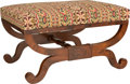 Furniture : English, An English Mahogany and Needlepoint-Upholstered Curule Bench, 19th century and later. 17 h x 28 w x 20-1/2 d inches (43.2 x ...