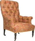Furniture , A Victorian Button-Upholstered Library Chair, 19th century and later. 40 h x 33 w x 28 d inches (101.6 x 83.8 x 71.1 cm). ...