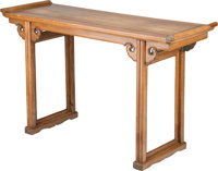 A Chinese Huanghuali Altar Table 34-1/4 h x 57 w x 18-1/2 d inches (87.0 x 144.8 x 47.0 cm)  PROPERTY OF A L