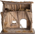 Decorative Arts, French, A French Provincial Rustic Wooden Dollhouse. 26-1/2 h x 30-1/8 w x23-1/2 d inches (67.3 x 76.5 x 59.7 cm). PROPERTY OF A ...