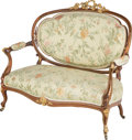 Furniture : French, A Napoleon III Gilt Bronze Mounted Mahogany Settee, late 19thcentury. 41-1/2 h x 48-1/4 w x 26 d inches (105.4 x 122.6 x 66...