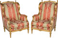 Furniture : French, A Pair of Louis XVI-Style Giltwood Bergères, 20th century. 43 h x27-1/2 w x 29 d inches (109.2 x 69.9 x 73.7 cm). ... (Total: 2Items)