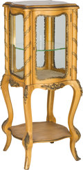Furniture : French, A Louis XV-Style Giltwood and Gilt Bronze-Mounted Vitrine, early20th century. 40-3/8 h x 15 w x 15 d inches (102.6 x 38.1 x...