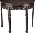 Furniture , A Chinese Carved Rosewood Console Table. Ht. 34-1/4 x 41-1/2 x 20-3/8 in. . ...