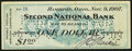 Obsoletes By State:Ohio, Hamilton, OH- Second National Bank $1 Nov. 9, 1907. ...