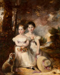 Fine Art - Painting, European:Antique  (Pre 1900), Circle of Sir Thomas Lawrence (British, 1769-1830). A portraitof two sisters seated in a landscape with their pet dog. ...